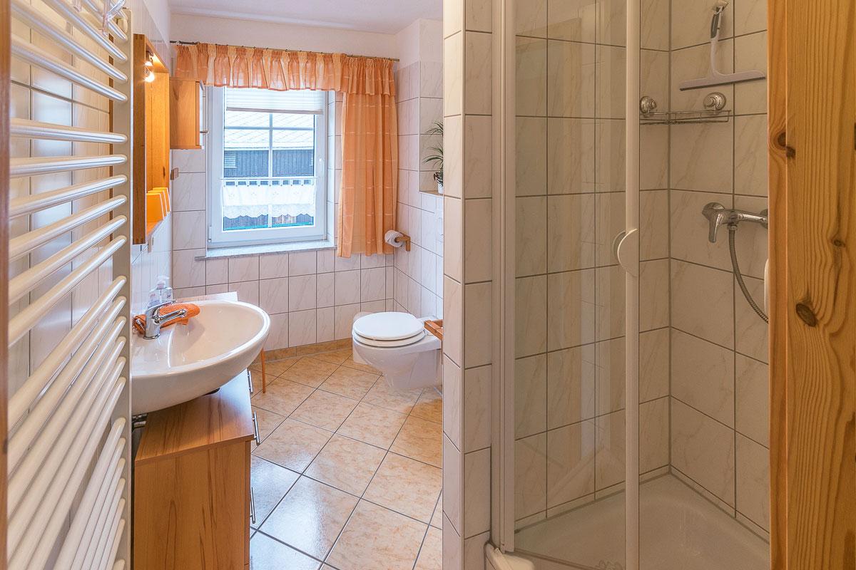 Ferienwohnung Adamsberg - Badezimmer1 mit Dusche und WC