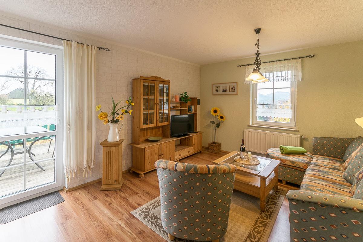 Ferienwohnung Pfaffenstein - Wohnzimmer mit Sofa und TV