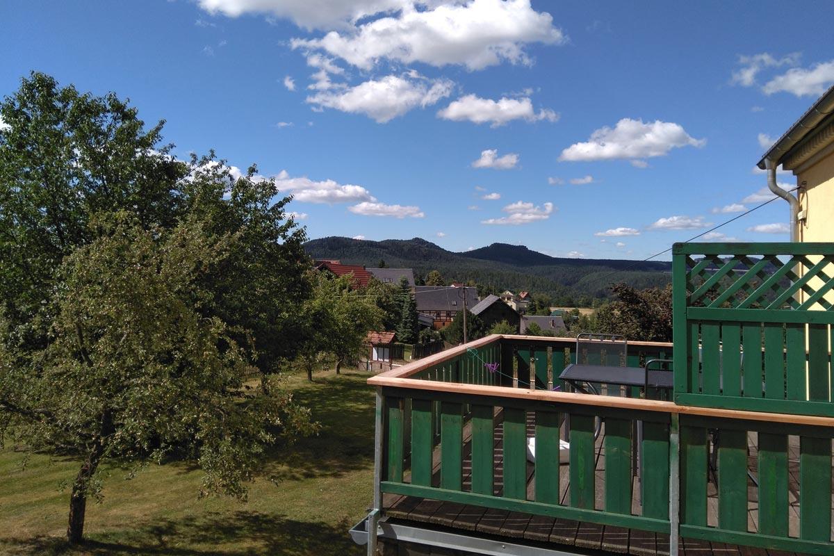 Balkon mit Blick zum Pfaffenstein